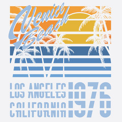 California Venice beach typography, t-shirt design, vector