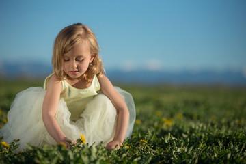 Little girl picking dandelions.