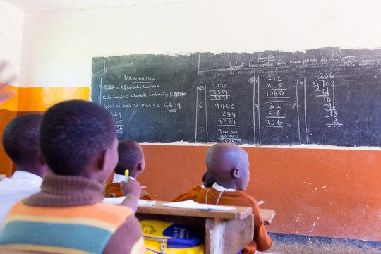 School with school children at their desks.