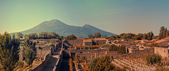 Cityscape of Pompeii with Mt Vesuvius at sunset