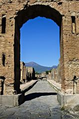 Arch of Emperor Nerone with Vesuvius in the background
