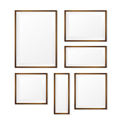 Set of Blank wood photo frame on white background vector eps10