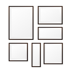 Set of Blank wood photo frame on white background vector eps10 0