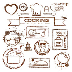 Cooking stamp set for cooking lesson brochure or package decor.