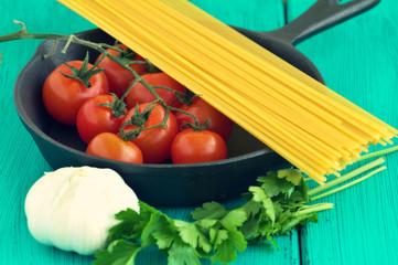 Pasta dish ingredients