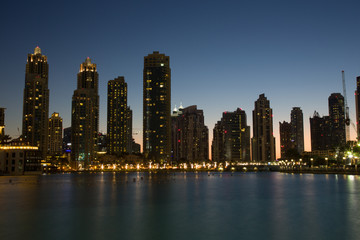 Dubai Mall pool lights of buildings at night