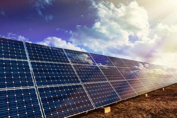 Solar panels and sunlight