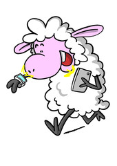 Sheep with smart watch and phone