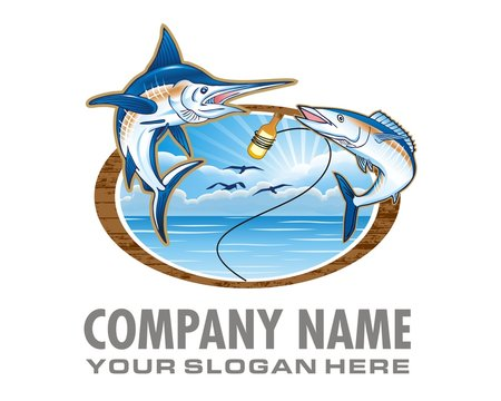 fishing marlin logo image vector