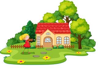 Girl and house