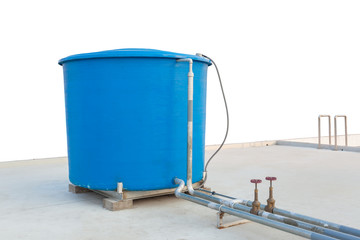 Blue water tank of industrial building on roof top on white back