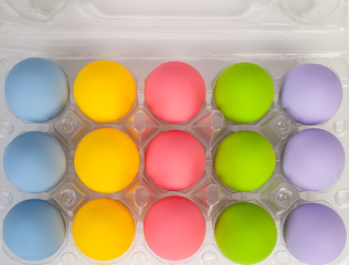 colorful of eggs for holiday easter festival on plastic package,