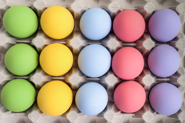 colorful of eggs for holiday easter festival on crate, can use a