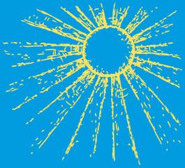 Vector picture. Sun on blue sky