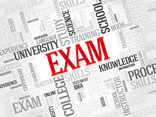 EXAM. Word education collage