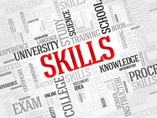 SKILLS word cloud, education concept