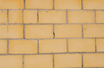 Building blocks forming a yellow wall