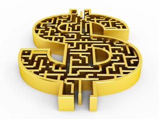 Dollar shaped maze