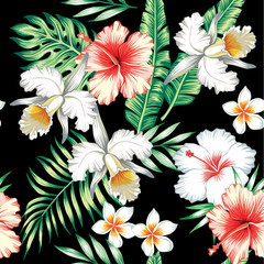 hibiscus and orchids seamless background