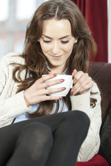 Woman enjoying fresh coffee