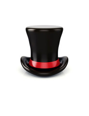 3d magician cylinder hat isolated on white