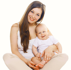 Portrait of happy young mom with cute baby together