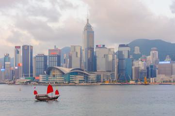 panoramic view of Victoria harbor in hong kong