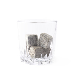 Empty tumbler filled with stones