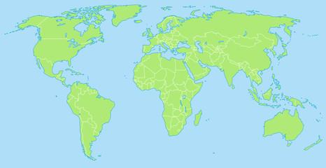 Tuinposter Wereldkaart Weltkarte in Grün