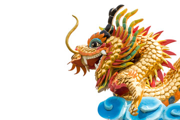 Dragon statue and blank area at left side on isolated background