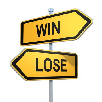 two road signs - win lose choice