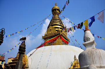Swayambhunath or Monkey Temple with Buddha eyes at Nepal