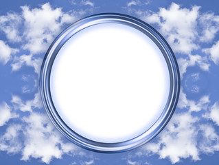 Blue circle picture frame with background of clouds and copy spa