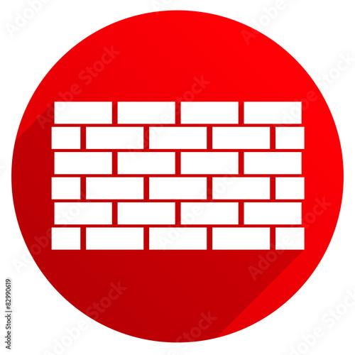 Red Icon With Brick Wall Wall Symbol Casting Diagonal Shadow V