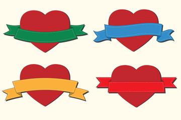 heart and ribbon vector illustration