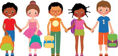 Vector cartoon of a group of children of school students