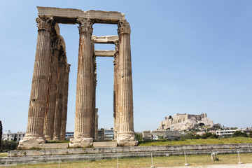 Ruin of the temple of Olympian Zeus in Athens, Greece