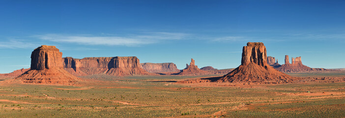 Monument Valley, desert canyon in USA, panoramic image