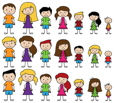 Vector Collection of Diverse Stick People in Vector Format