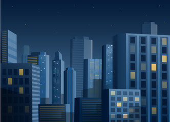 Cityscape at night vector background