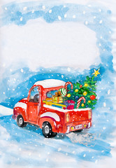 red car and christmas tree on snow. child drawing