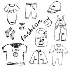 Clothes for baby boy set hand drawn sketch, isolated