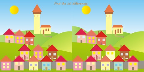 town, find ten differences