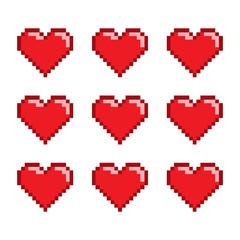 Pixel set hearts