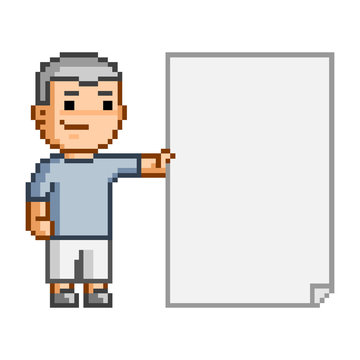 Pixel art person and the document