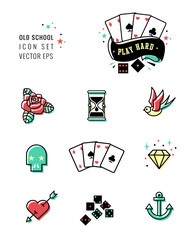 tattoo icon set, rockabilly and old school design.