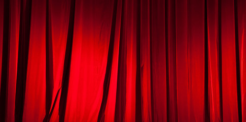 Red curtain banner background