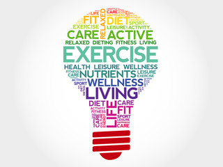 EXERCISE bulb word cloud, health concept