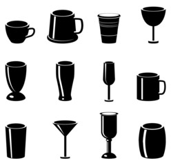 Various glasses, mugs, cups and chalis vector icon