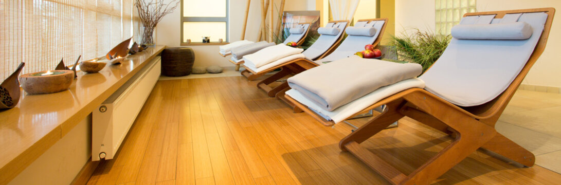 Loungers in spa room